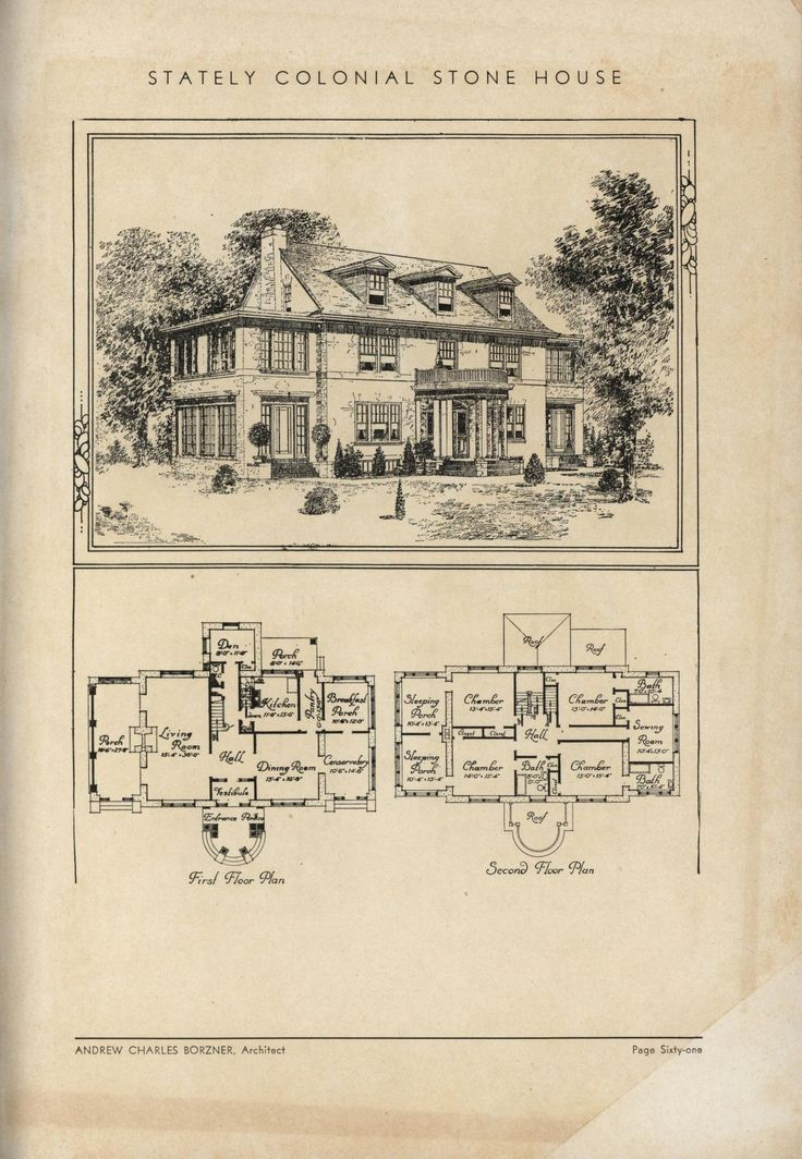 1000 images about vintage home plans on pinterest house for Antique colonial house plans