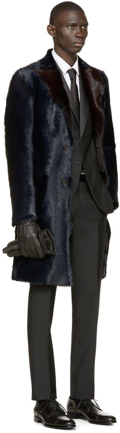 Dolce & Gabbana Navy Long Calf Fur Coat                                                                                                                                                                                 More