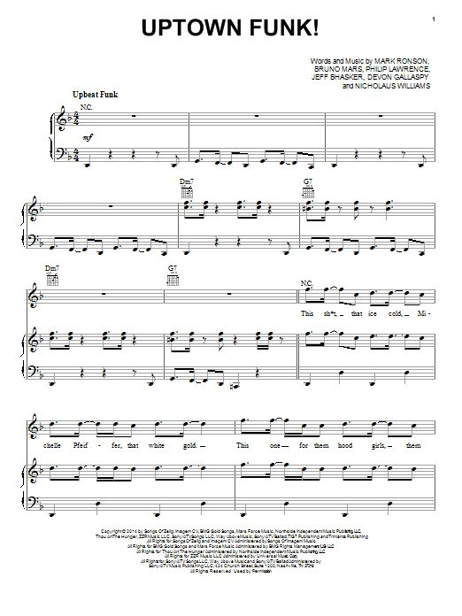 Ronson uptown funk sheet music arranged for piano more uptown funk