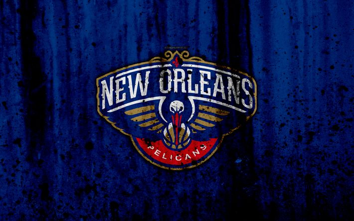 Download wallpapers 4k, New Orleans Pelicans, grunge, NBA, basketball club, Western Conference, USA, emblem, stone texture, basketball, Southwest Division