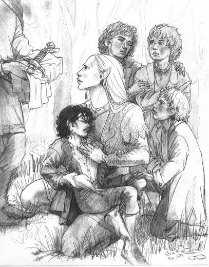 Glorfindel and the Hobbits, by Hope Hoover. This is how I imagined Glorfindel.