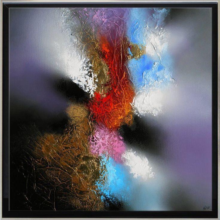 """Tableau abstrait contemporain toile encadré """"SONATE"""" caisse américaine peinture moderne en relief noir or doré rouge orange"""