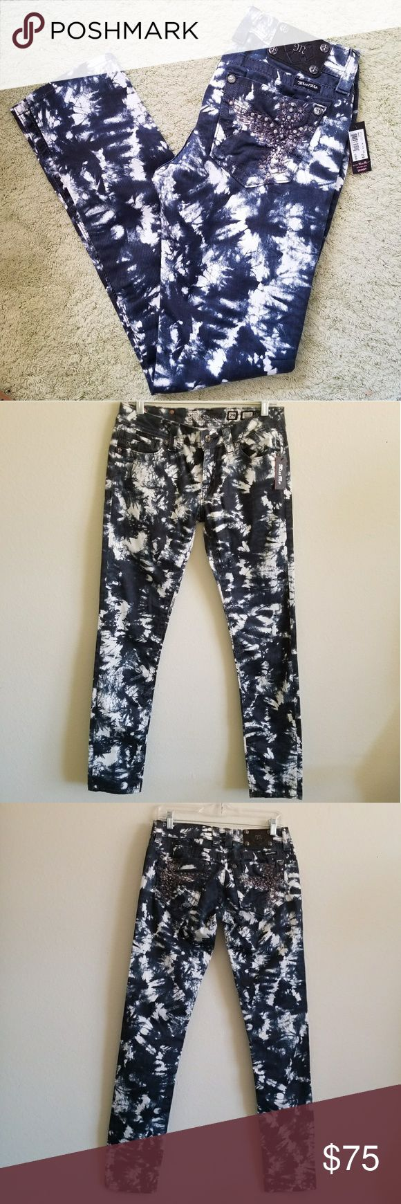 Miss Me - Tie dyed Navy & White Skinny Jeans, 29 These are brand new with tags.  **Pictures taken with and without flash.**  Miss Me Skinny Jeans. Style JP5117S27 They are navy and white tie dye look. Back pockets have​ embroidery with Rhinestone detail.  29 in waist, 32 in inseam, 8 in rise Miss Me Jeans