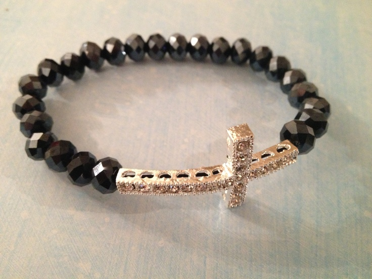 Black crystal and white rhinestone cross bracelet - now in stock  www.pretty-things.com.au