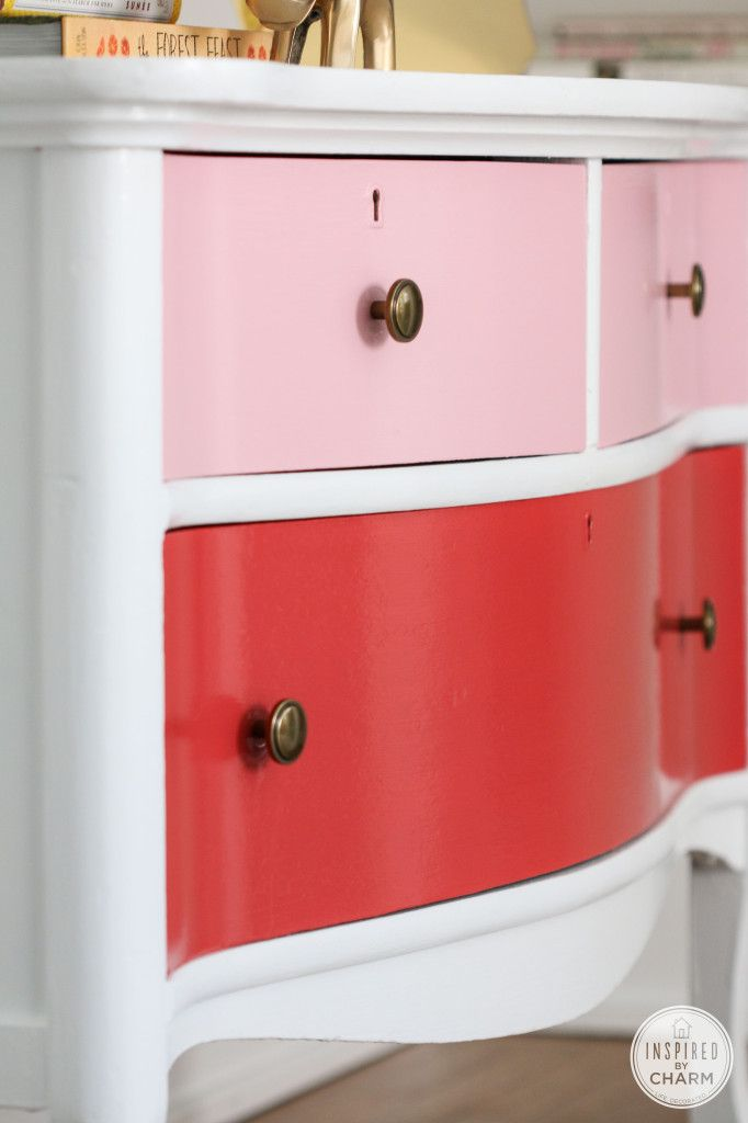 Painted Antique Dresser   Inspired by Charm #PrettyinPink