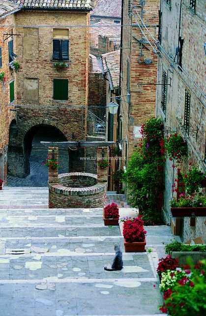 "Corinaldo, ""La Piaggia"" Stairway, Corinaldo is a town and comune in the Province of Ancona, within the Marche region of central Italy."