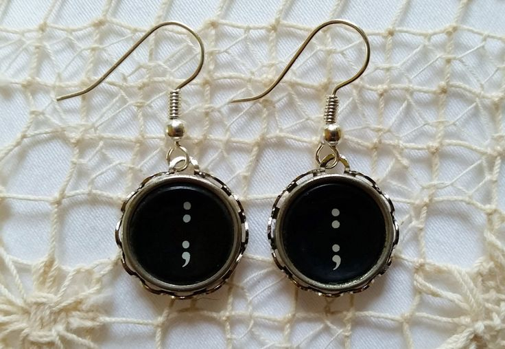 Semicolon Earrings, Antique Typewriter Key Punctuation Earrings, Black Dangle Earrings, Colon, Semicolon Symbol Earrings, Semicolon Jewelry by FunkyTypes on Etsy