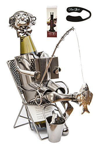 Wine Stoppers - Fabulous Fisherman Catching Fish with a Fishing Rod Reading a Book Wine Bottle Holder Plus a Wine Foil Cutter and a Wine Bottle Stopper ** Want to know more, click on the image.