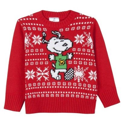 Snoopy Infant Toddler Boys\u0027 Holiday Sweater , Red