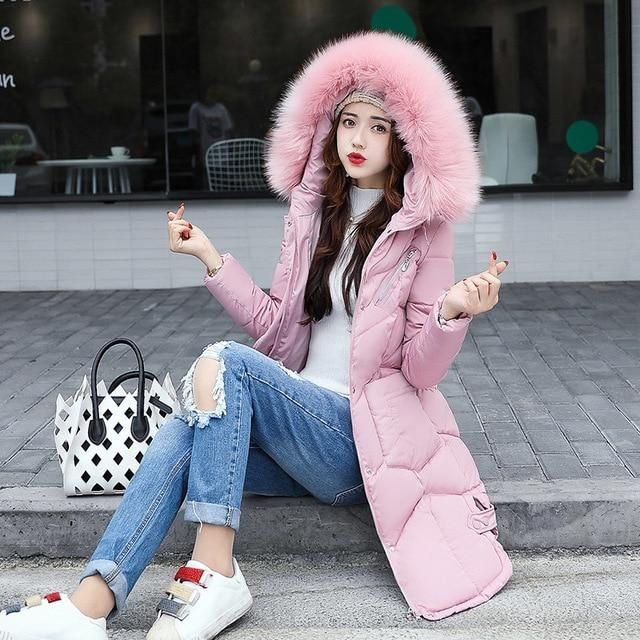 New Winter Coat Women 2018 Thick Warm Winter Jackets Female Fur Collar Hooded Long Parka Coat Plus Size Outerwear Mf50 pink colo 1