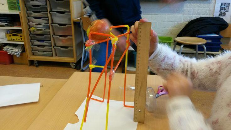 Constructie van rietjes en plakband die een appel kan dragen.