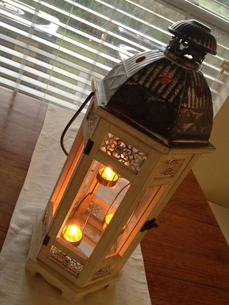 Pier 1 White Wooden Hanging Tealight Lantern