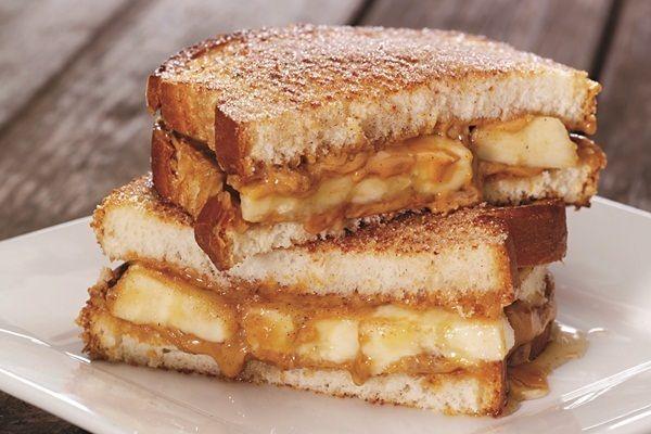 spiced peanut butter, banana, and honey sandwich
