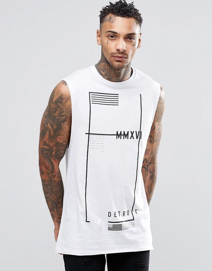 Image 1 ofASOS Longline Sleeveless T-Shirt With Flag Print