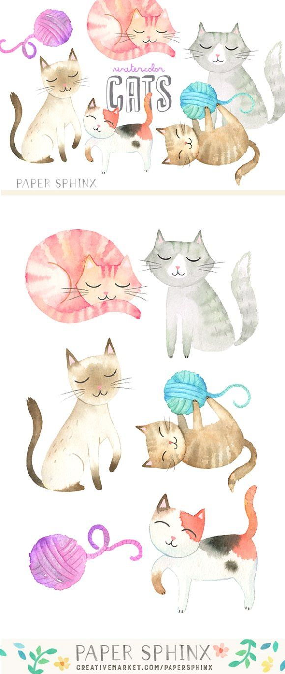 Watercolor Cats Graphic Pack by PaperSphinx on @creativemarket