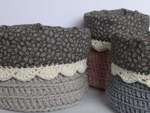 Boite ronde au crochet doublée tissu (tuto)