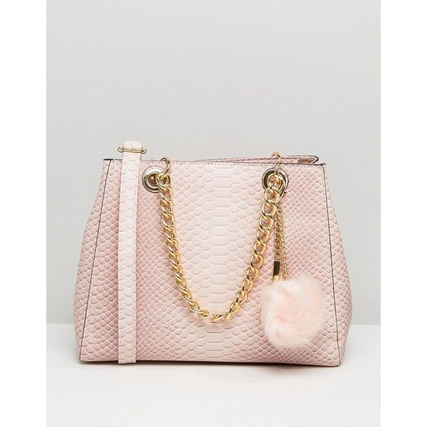ALDO Minimal Shoulder Bag With Faux Fur Pom (240 SAR) ❤ liked on Polyvore featuring bags, handbags, shoulder bags, pink, aldo, chain handbags, aldo purses, shoulder handbags and pink handbags
