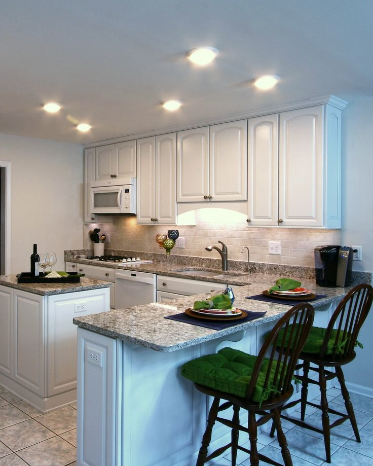 Kraftmaid Marquette Arch White Cabinets Travertine Subway