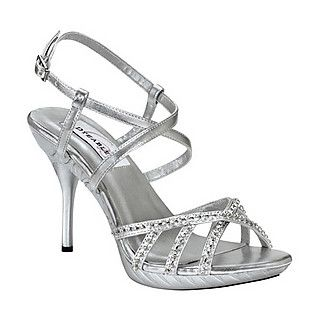 Silver high heel synthetic shoes with 3 1/4 inch heel and rhinestone detail. The heel height of this shoe is measured on the inside of the heel.