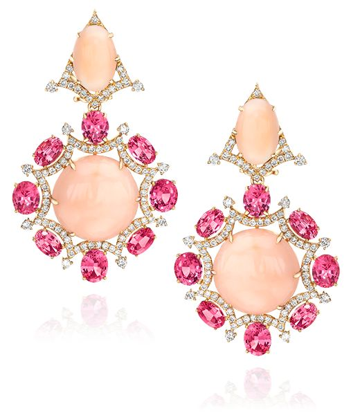 Cellini Jewelers Sutra Jewels Coral Earrings  This gorgeous pair is the perfect pop of color with its unique combination of gems. 8.96 carats of oval pink spinel, surround 40.78 carats of cabochon coral. The stunning drops are further accented with 1.81 carats of round brilliants.