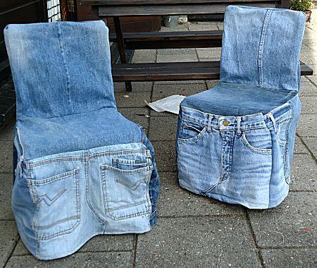 Stoel met spijkerbroek bekleden