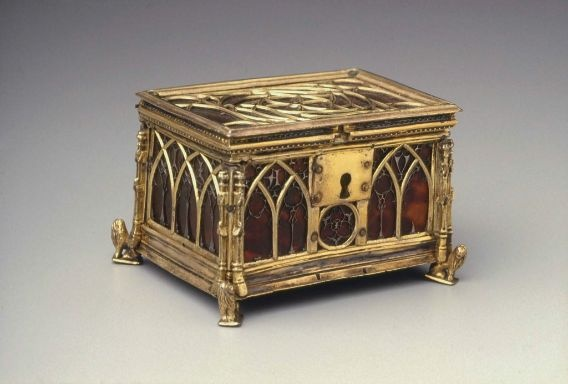 Casket,european,imitation of  Gothic,19th cent. possibly workshop of Louis Marcy,Italian,1860-1945  Metal,tortoiseshell,boxwood,copper alloy,glass,gold  leaf on linen rag  paper and gilding on silver.