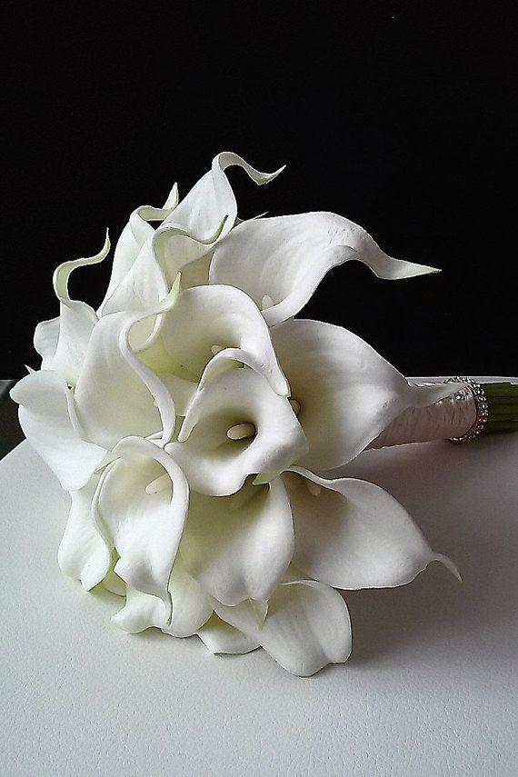 Bouquet de mariage blanc Real Touch Calla Bridal fleur de Lys