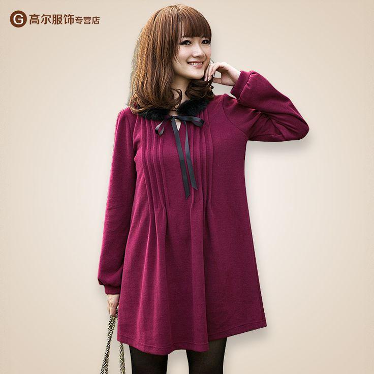 2012 autumn new XL Maternity autumn fashion Korean rabbit fur collar pregnant women sweater dress sub