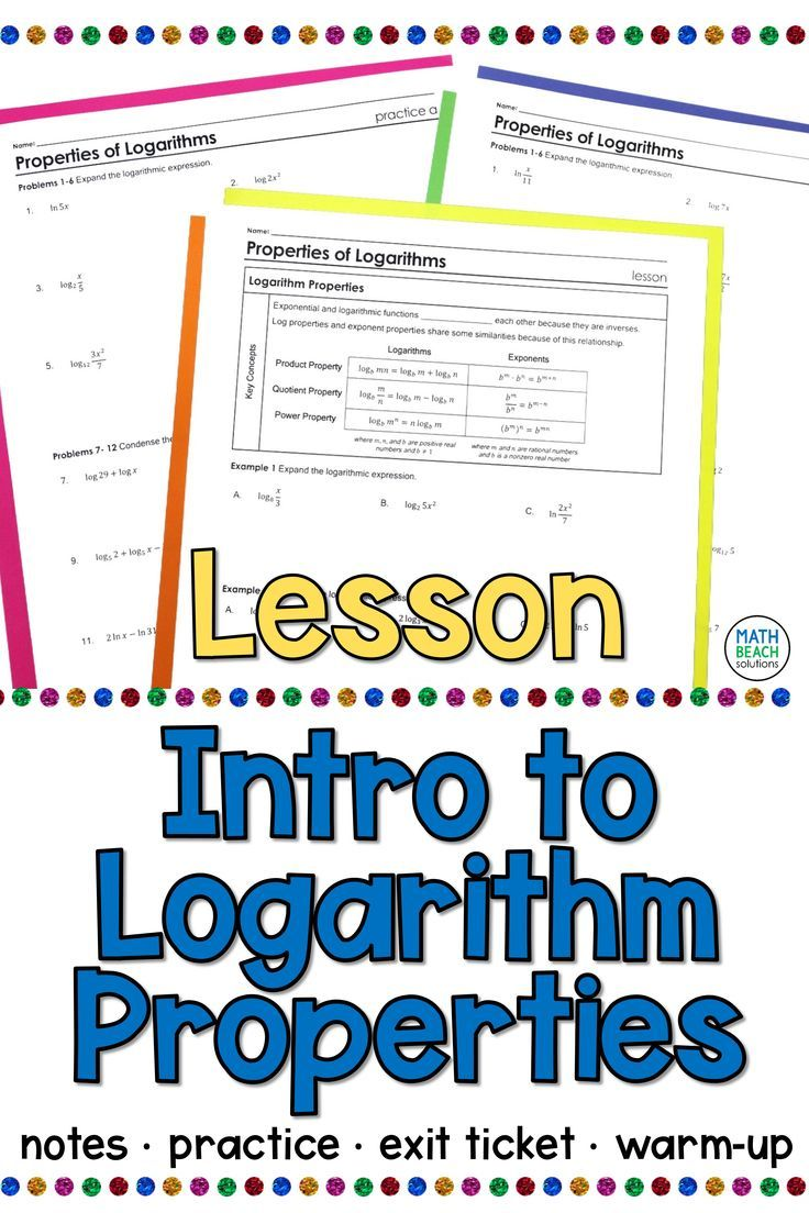 Intro To Log Properties Lesson In 2020 Algebra Lesson Plans Algebra Lessons Algebra Worksheets