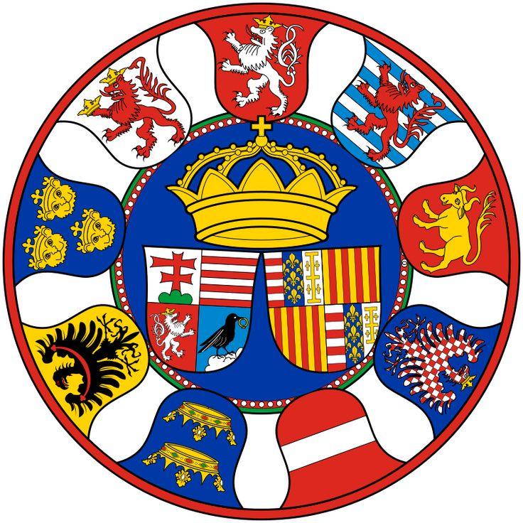 Herby Macieja Korwina (króla Węgier i Czech) i Beatrycze w otoczeniu herbów księstw i ziem lennych
