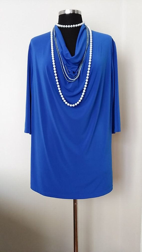 Plus size Royal Blue Tunic Plus size Long top Plus size Cowl Neck Tunic Plus size Long sleeved top Loose fitting blouse