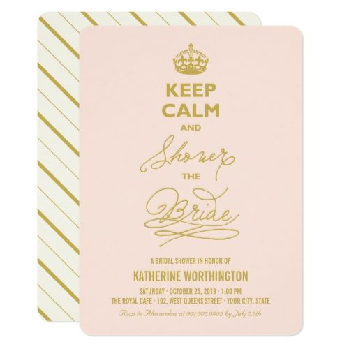 Keep Calm And Shower The Bride Funny Bridal Shower Invitation In