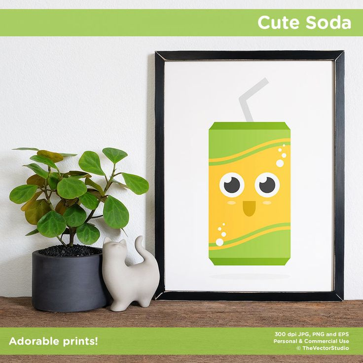Cute food print, soda, pop can, printable, download, art, wall decor, office, home, nursery, kitchen, kids, baby shower, kawaii by TheVectorStudio on Etsy https://www.etsy.com/ca/listing/544444715/cute-food-print-soda-pop-can-printable