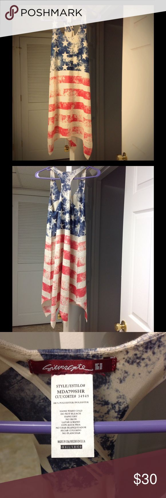 NWOT Patriotic dress from The Pink Lily Boutique Brand new, never worn. Flag pattern casual sundress with racerback. Size small. Great for summer holiday picnics or concerts. Purchased online from The Pink Lily Boutique. (Silvergate-brand) the pink lily boutique  Dresses Midi