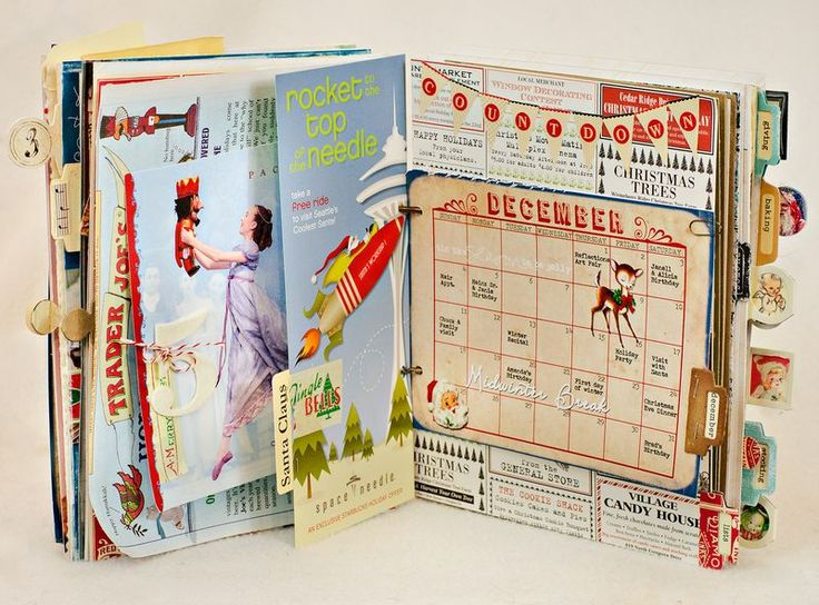 Calendar pages and other fun stuff in journal. #art #journal #scrapbook #smash #book
