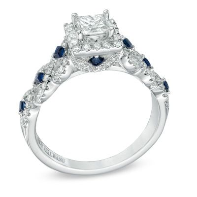 Oval Garnet And Diamond Ring In 10k White Gold Blue