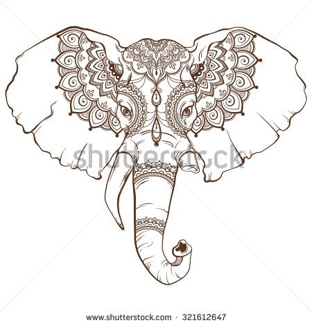 Head of elephant with elegant ethnic pattern. Hand drawing style. Vector illustration. - stock vector