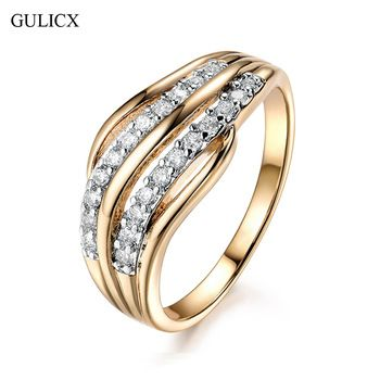 GULICX New Fashion Female Wedding Bands Jewelry Gold-Color Engagement Ring for Women CZ Stone Paved Promise Rings  Price: 1.40 USD