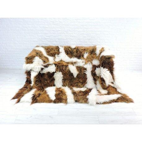 Huge real Icelandic sheepskin rug white & rusty brown