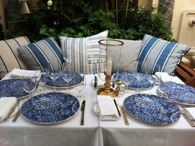 ralph lauren montauk style | Blue and white at the Ralph Lauren Paris courtyard restaurant.
