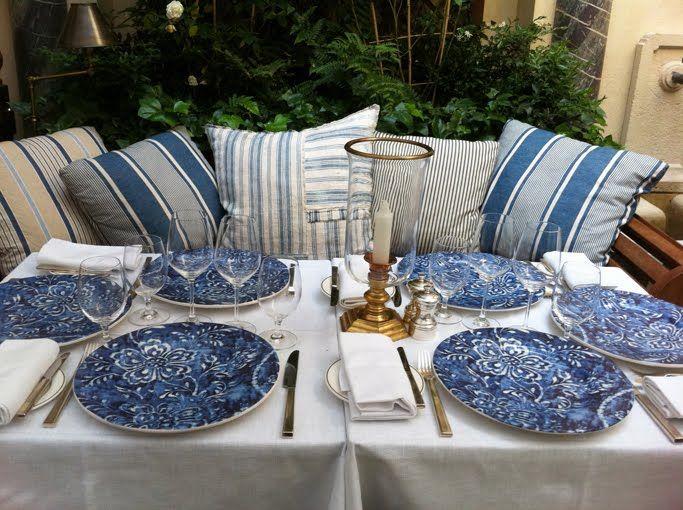 ralph lauren montauk style | Blue and white at the Ralph Lauren Paris courtyard restaurant.