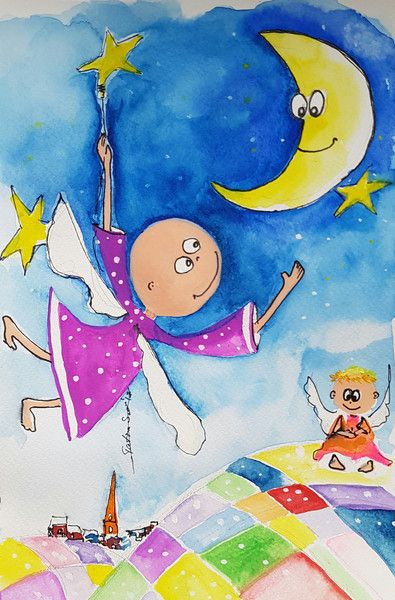 """Illustrationen - 365 Engel - """"Ich hole Dir die Sterne vom Himmel"""" - ein Designerstück von Kunst-Punkt bei DaWanda"""