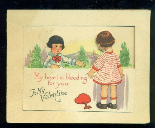 Vintage Valentine Greeting Card MY HEART IS BLEEDING FOR YOU Boy Girl at Fence
