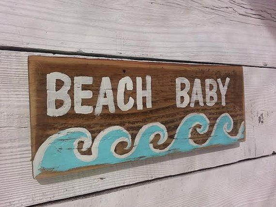 Beach Baby Hand Painted Rustic Wood Sign Reclaimed Wood Great for Boy or Girl Beach Nursery Room Decor.