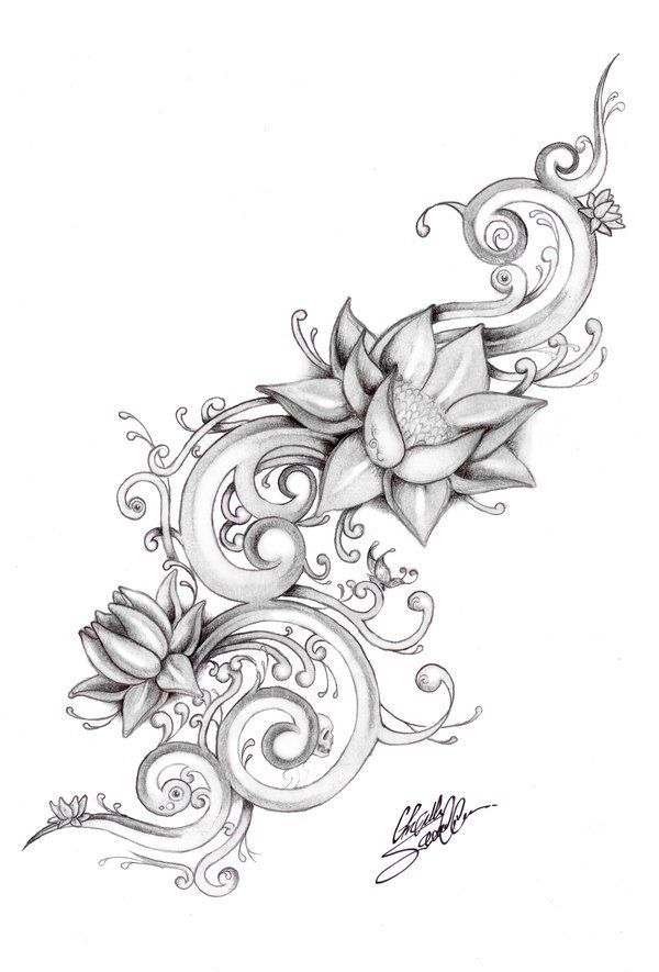 Lotus River By Gsaw On Deviantart Flower Tattoo Drawings Girly Tattoos Tattoos
