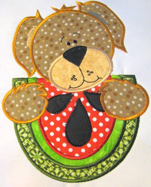 Picnic Bear With Watermelon Machine Applique by KCDezigns on Etsy, $3.50