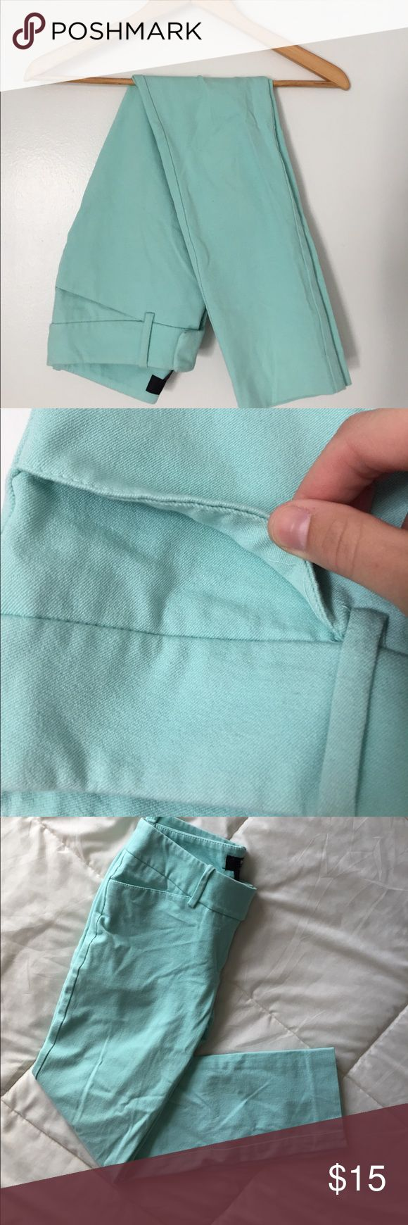Mint green trouser pants These are the best work pants. Skinny and fall right at the ankle. Perfect with flats and a top. Only wore a handful of times. In great condition. Will probably just need some ironing 😊 Mossimo Supply Co Pants Trousers