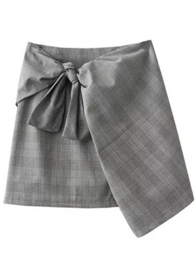 Falda a cuadros con lazo - gris