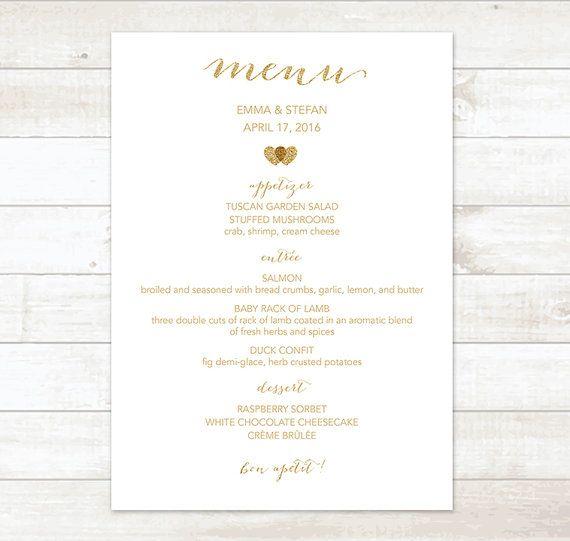 Gold Wedding Menu By Pinkdahliaprintable