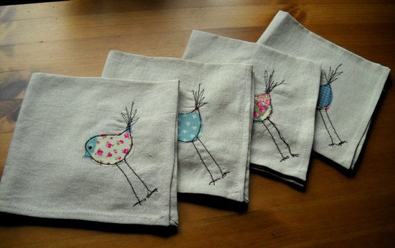 Set of 4 Linen machine embroidered napkins by TangledFox on Etsy, £18.00